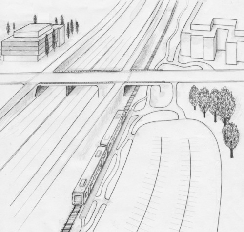 drawing showing aerial view of two-car train at 40th St. park and ride lot