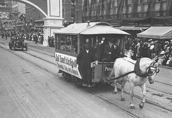 An early streetcar in San Diego, CA